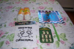 #60 Birthday Sign, Over The Hill Towel, Snowman Candles & Cups
