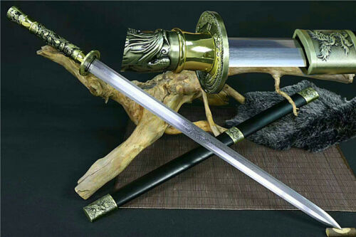 Unique Strong Sword Phoenix Jian Katana Sharp Damascus Steel Blade Ebony Sheath