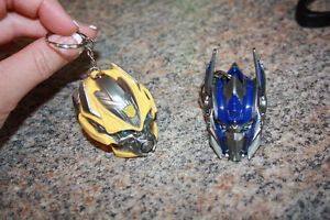 EUC BUMBLEBEE AND OPTIMUS TRANSFORMERS KEYCHAINS