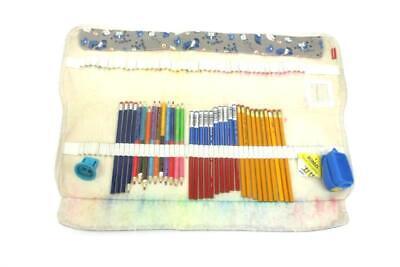Damero Colored Pencil Roll Wrap For 100 Pencils Gray Dog Print