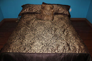 Chocolate and Gold Queen Sized Bedding