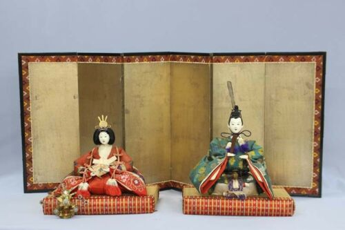Antique Japanese Imperial Palace Doll Emperor & Empress Late Meiji Period