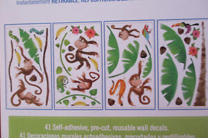 Monkey RomMates peel and stick wall decals new