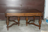Double Base Dining Room Table, 2 leafs, & 6 chairs