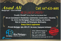 #1st, 2nd & Private Mortgage#low or no income#Low credit score#