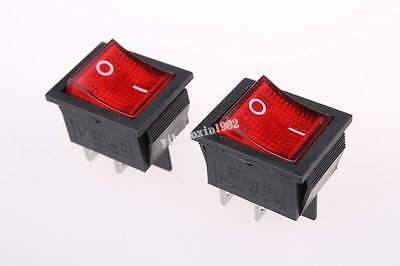 10pcs Red Light Illuminated 4 Pin Dpst Onoff Snap In Boat Rocker Switch Ac 250v