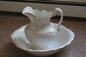 Antique pitcher and wash basin