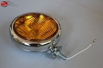 "5"" Small Chrome Amber Glass Fog Light Lamp 12 Volt Custom Car Pickup Truck"