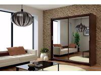 ***London Style *** Berlin Wardrobe Full Mirror 2 Door 250CM Colors Black White Wenge Walnut