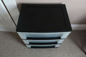 Plastic storage drawers on wheels.  Two matching!