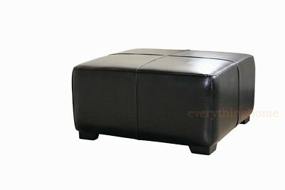 - BLACK FULL LEATHER SQUARE CUBE COFFEE TABLE OTTOMAN FOOTSTOOL FOOT REST 32