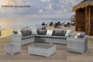 Outdoor Aluminum Resin Wicker Patio Large Sectional Sofa Sets