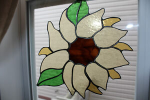 Sunflower stained glass suncatcher