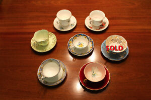 Antique tea cups (6) with saucers