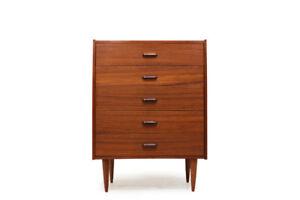 MCM Teak Five Drawer Tallboy Dresser