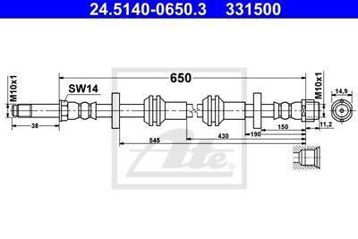 ATE Bremsschlauch Vorne 24.5140-0650.3
