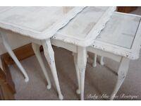 Vintage White Nest of Tables Parisian Shabby Chic Ornate