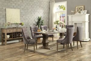 Double pedistal 8 foot dining table with 6 wrap around chairs