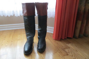 Steve Madden Black & Brown Leather Riding Boots Size 9.5