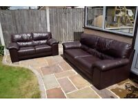 Two Piece Dark Brown Leather Sofa Suite