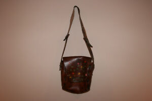 Vintage Brown Leather Bag with Painted Flowers
