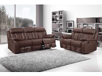 Brandnew CHICAGO 3 2 AND 1 SEATER LEATHER RECLINER SOFA SUITES IN BLACK WHITE RED AND BROWN COLOR