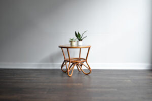 SOLD - Vintage Bamboo Rattan Side Table 1
