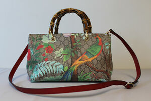 GUCCI TIAN SHOPPER TOTE WITH BAMBOO HANDLES
