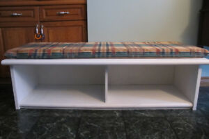 Solid storage entry wood bench