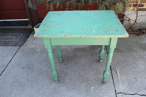 Antique Primitive Table in Great Green Paint - Very Cottage-y