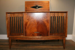 One of a Kind MCM Walnut Stereo Console