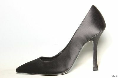 new $395 GIOVANNI MONTE black satin classy heels shoes Italy 36 6 - very dressy