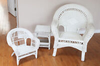 Wicker chairs and sidetable