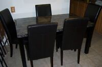 Black Faux Marble Dining Room Table with 5 Parson Chairs