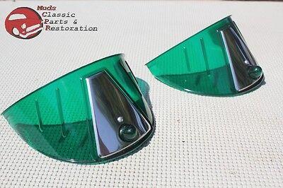 """Green Headlamp Light Bulb Visors Custom Car Truck 7"""" With Stainless Trim New"""