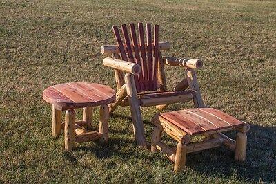 Red Cedar Log Adirondack Chair, Ottoman & Side Table Set - Amish Made USA (Adirondack Cedar Side Table)