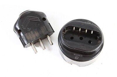 Old Socket Bakelite 3 Polig Black round Exposed Art Deco with Plug