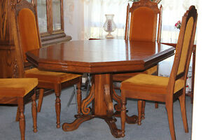 oak dining room table chairs and china cabinet