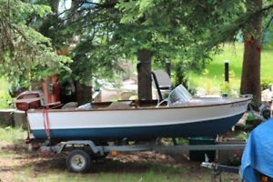 1958 Wooden Runabout 13 feet with 18 H.P. Johnson and Trailer.