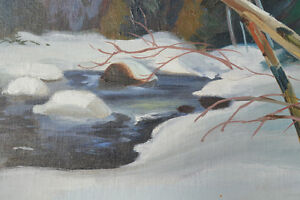 LISTED ARTIST TOM HALL OIL ON BOARD WINTER PAINTING EXCELLENT Gatineau Ottawa / Gatineau Area image 5
