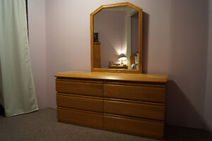 Natural ash solid wood dresser with mirror