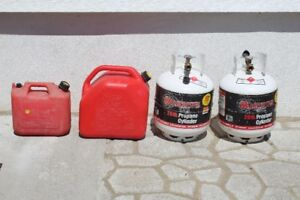 Two Propane Tanks and Two Gas Cans