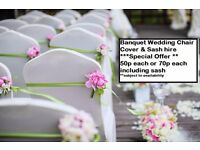 **WOW **50P CHAIR COVER HIRE & SASH HIRE ***FREE TABLE RUNNERS WITH EACH ORDER***