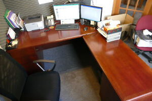 Solid Wood L-Shaped Desk with add-on