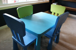 IKEA CHILD'S TABLE AND FOUR CHAIRS