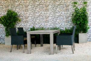 NEW! Outdoor Champagne Teak Table with Four Wicker Chairs!
