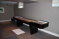 Shuffleboard Table & Pub Style wall mount dart board & cabinet