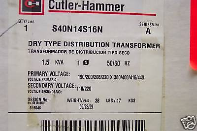 Cutler Hammer S40n14s16n Dry Type Distribution Transformer 1.5 Kva New In Box