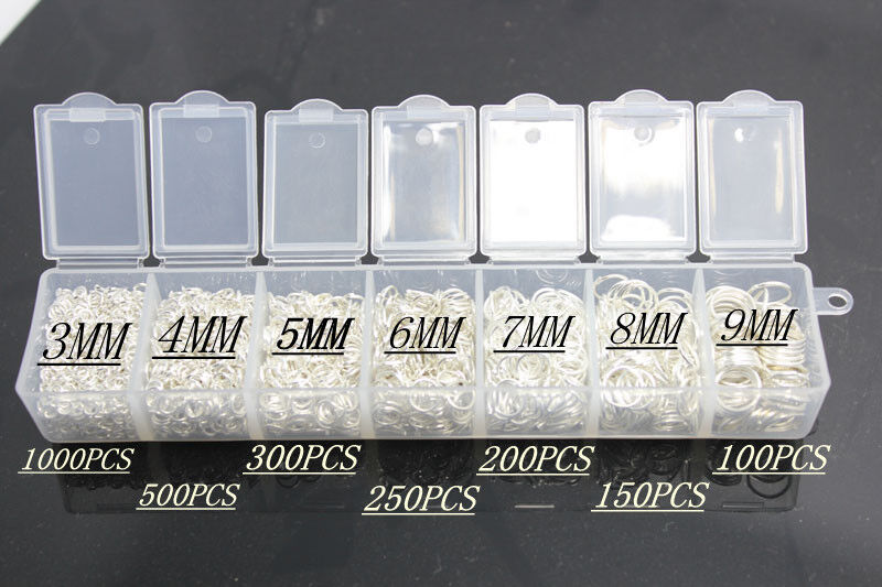 2500PCS 3-9MM Making Jewelry Findings 925 Sterling silver Plated Open Jump Rings