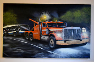 PETERBIILT 379 WRECKER TOW TRUCK & MONTREAL BUS PAINTING -TOILE